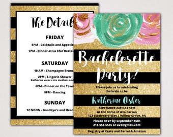 Gold and Black Bachelorette Party Invitation with Itinerary Template: A Printable Glitter Weekend Invite, Instant Download Editable PDF K004