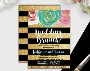 Gold and Black Post Wedding Brunch Invitation, Instant Download, Glitter Post Wedding Invitation, Brunch Wedding Invitation Template K004