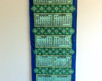 1969 Tea Towel Calendar Wallhanging - 1960's Linen, Flower Power pattern.