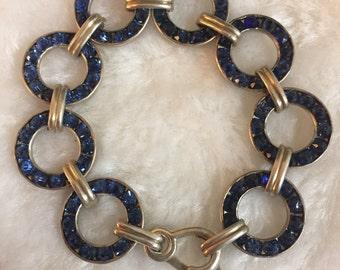 Art Deco Jewelry Bracelet - Vintage Rhinestone, Sterling Silver blue rhinestone Stones, Leach & Miller