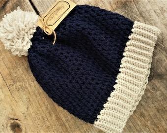Navy Blue and Cream Pom Pom Beanie Hat