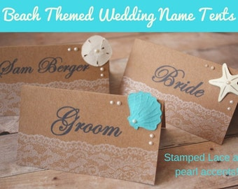 Beach Wedding Name Tents/ Beach theme wedding/ wedding name tents/ wedding place cards/ guest name tents/ beach wedding/ beach/ name cards