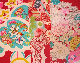 Japanese old kimono fabric set, set of 3, silk, and various sizes and patterns