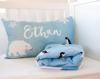 Personalized Bedding - Baby Gift - Crib Bedding Set - Polar Bear - Boys Comforter - Toddler Comforter - Twin Comforter -  bedding