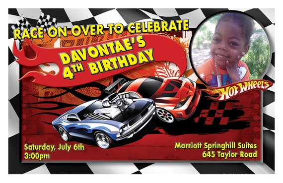 Hot Wheels-Customized-Birthday Invitation-Digital Printable Download
