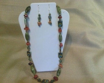 302 Natural Amber Colored Agate, Green Unakite Beads  and Green Jungle Jasper with Peacock Feather Design Beads Beaded Necklace's