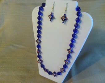 137 Aweome Navy Blue Cloisonne and AB Fire Polished Glass Beads Beaded Necklace