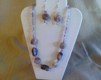 117 Awesome Genuine Natural Amethyst Nugget Beaded Necklace