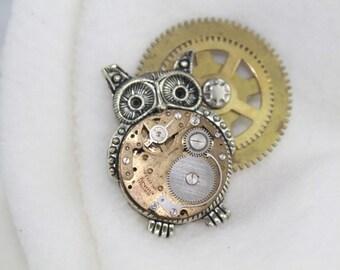 Steampunk Owl Brooch--Antique Gears