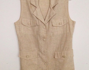 Vintage 80s natural beige linen look safari vest size large