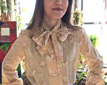 Vintage Jonquil Secretary blouse tie neck size 5