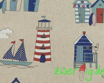Lighthouse boats one maritim - 280 cm wide - bag fabric or curtain fabric