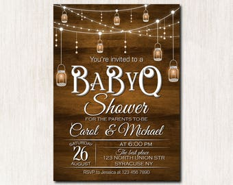 BaByQ shower invitation, Baby Sprinke Invitation, Rustic Baby Shower invitation, Mason jar, BBQ Baby Shower invitation - 1661