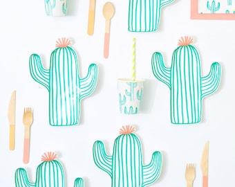 Cactus Plates x 12   Cactus Tableware   Tropical Tropical Tableware