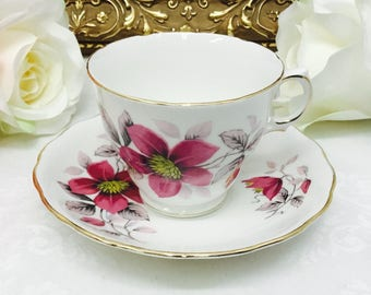 Royal Vale Clematis teacup and saucer.