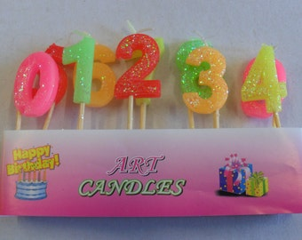 10 mini candles wax & shaped figure from 0 to 9 color