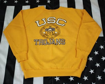 Vintage 80s USC Trojans crew neck sweatshirt Size L Tultex University of Southern California PAC 12