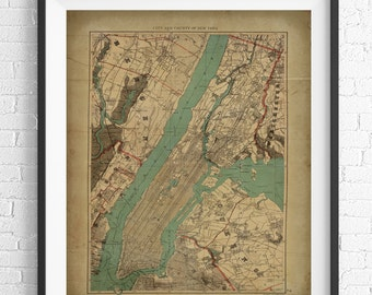 New York City Map Print, Vintage Map Art, Antique Map, NYC Map, New York Wall Art, New York City Art, Gift Idea, Cartography, NY Poster,