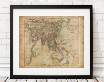Asia Map Print, Vintage Map Art, Antique Map, Wall Art, Old Maps, Map of Asia, Asian Map, China, India, Map Poster, Asian Art, Asian Gifts