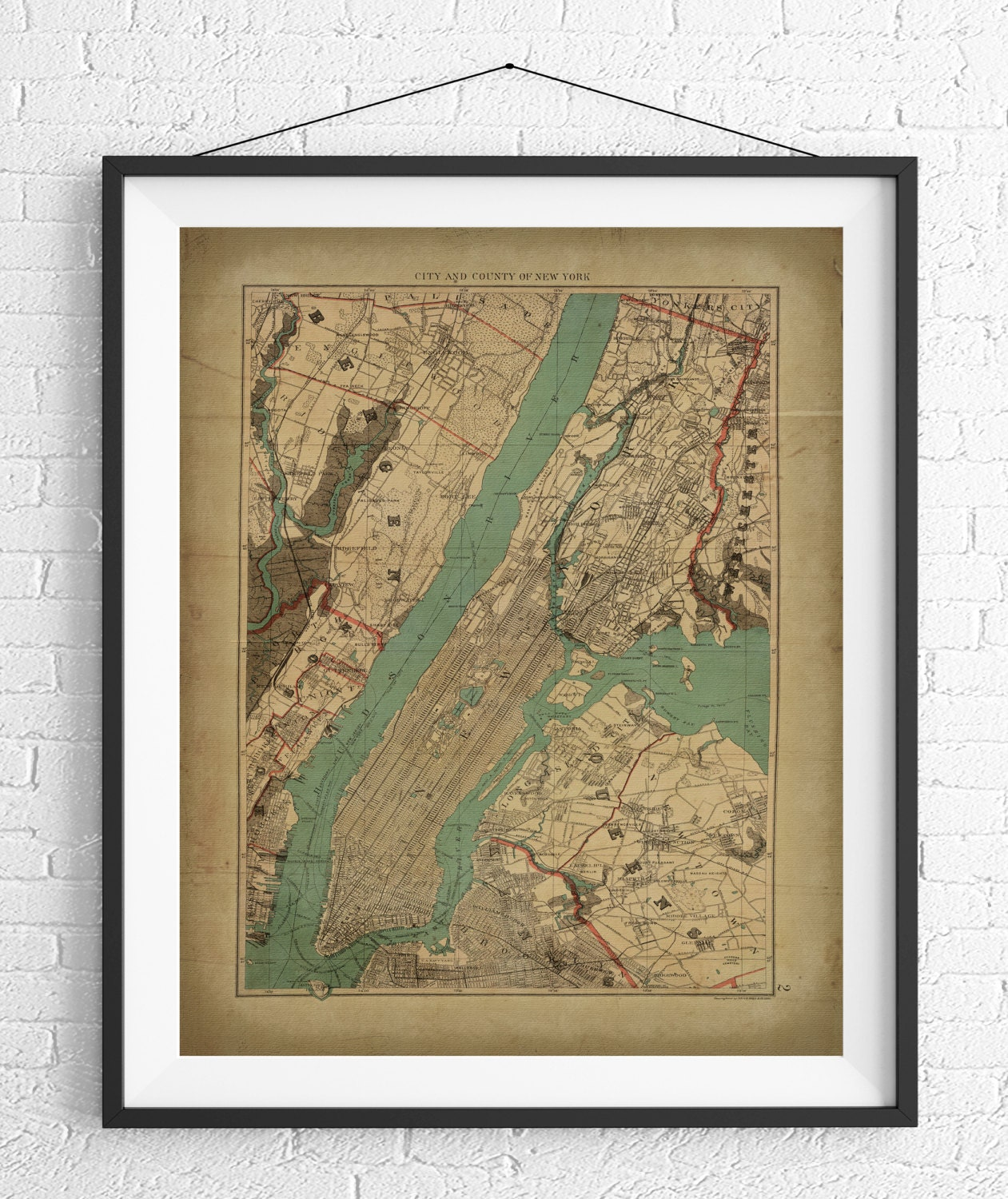 New York City Map Print Vintage Map Art Antique Map NYC Map - Nyc map to print