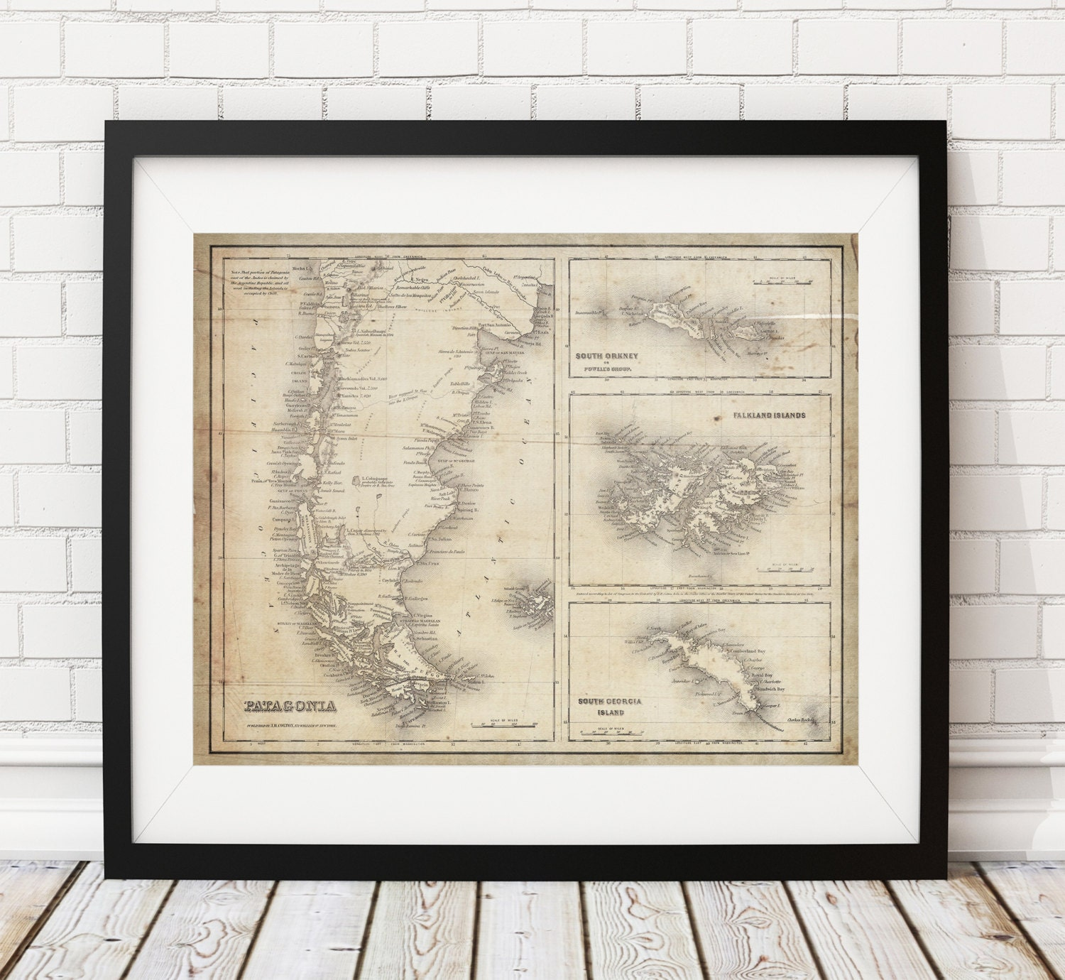 Patagonia Map Argentina Map Chile Map Vintage Map Art Antique - Argentina map vintage