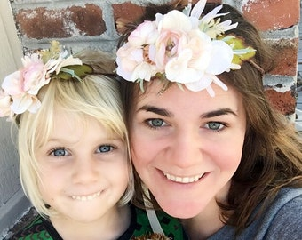 Bohemian Flower Crown, Bridal Flower Halo, Floral Hairpiece, Mommy & Me Crowns, Blush Flower Crown, Boho Crown, Feather Flower Crown
