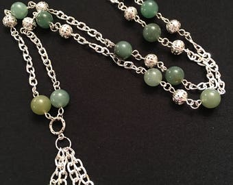 Aventurine Natural Stone With Matching Pendant Silver Plated Necklace