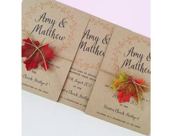 Autumn Wedding Invitations Leaves Invite Fall