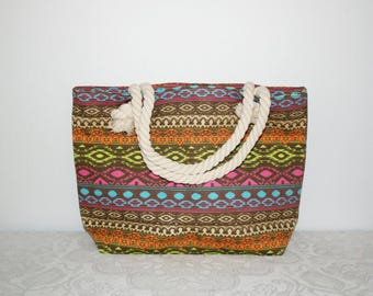 Ethnic bag rope handle, Balinese, hippie bag, colorful bag, shopper,