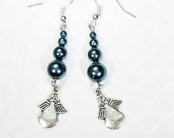 Swarovski crystal pearls with double sided angel earrings on surgical steel hooks