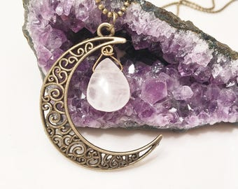 Quartz crystal moon pendant, crystal quartz moondrop necklace, crystal charm half moon necklace