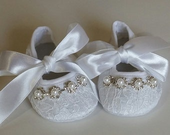 White Baby Crib Shoes, Christening Shoes, Baby Shoes