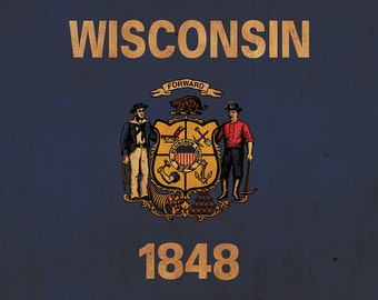 Vintage Wisconsin Flag on Canvas, Wisconsin, Wall Art, Wisconsin Photo, Wisconsin Print, Fine Art, Wisconsin Flag, Single or Multiple Panels