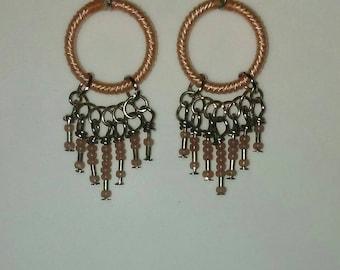 Blush Pink, Hoop, Chandelier Earrings