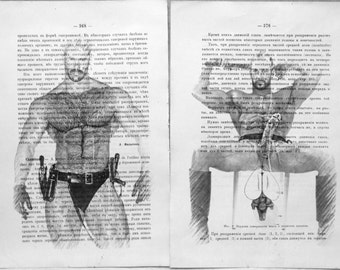 Gay erotic poster  / Muscle man body & cock / 2 pages printing Antique  Russian book  decor interior picture ART erotic