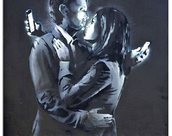 Mobile Lovers Banksy Graffiti Spray Painting Stenciling Technique Dark Humour Canvas Print Giclée Gallery Wrap Free Shipping 40% OFF SALE