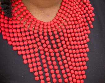 Red African Statement Necklace