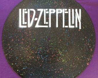 Led Zeppelin Spray Painted Record Clock