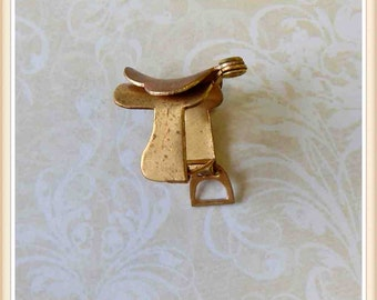 raw brass saddle charm, English saddle, 3-d charm, horse, equine, equestrian, 12 pieces E0106