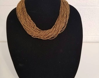 Gift for her, Gold Seed bead necklace, Tribal necklace