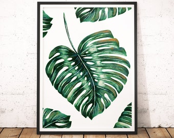 Banana Leaves Wall Art Print, Banana Leaves Printable, Plant Home Decor, Instant Download, Desert Plant, Tropical Photography