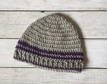 Winter Crochet Hat - Crochet Hat - Grey Winter Hat - Winter Beanie