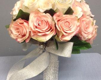 Beautiful silk flower and brooch bouquet