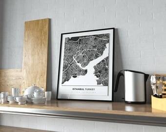 Premium Map Print of Istanbul Turkey - Simple Contrast - Unframed - Istanbul Map Art