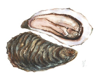 Oyster Seafood Still Life Original Painting Watercolor Luxury Delicious Home Wall Decor Kitchen Art Restaurant Design Gourmet Illustration