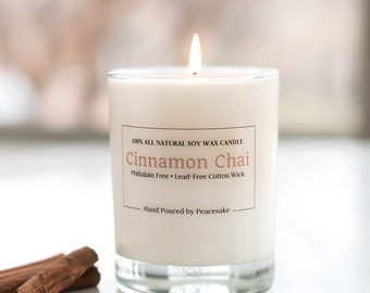 Cinnamon Chai, all natural soy candle, vegan, phthalates-free, and lead-free