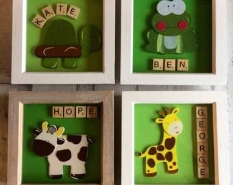 Scrabble art, childrern's picture, wooden animals, home decor, frog, giraffe, tortoise, cow,