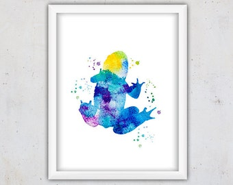 Watercolor Gift for Nursery, Watercolor Frog Print, Nursery Poster, Kids Wall Decor, Frog Nursery Art, Animal Digital Download, Blue Frog