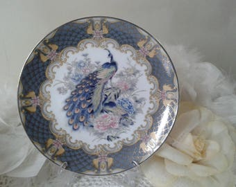Grey peacock Japanese plate with pink peonies and gold pattern, Grey Japanese decor plate with peacock and flowers, Eiwa Kinsei Japan 1970s