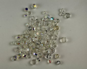 4/6/8 mm Czech Glass Fire Polished AB Crystal Beads Vintage 1970's - #205